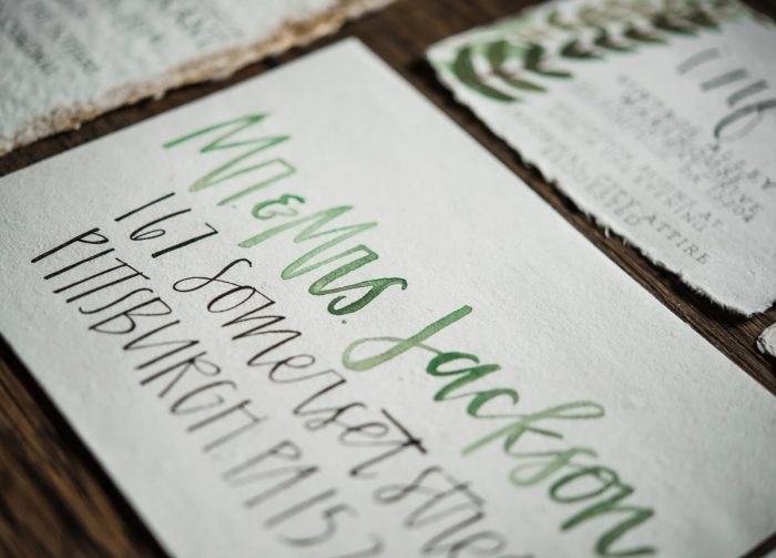 Greenery Inspired Handpainted Calligraphy Wedding Day Stationery: Green & White Spring Inspired Wedding Styled Shoot from Dawn Derbyshire Photography featured on Burgh Brides