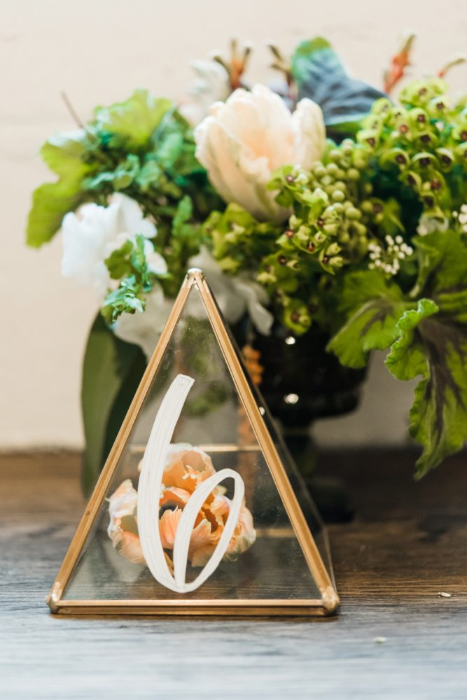 Industrial Chic Gold Terrarium Wedding Table Numbers: Green & White Spring Inspired Wedding Styled Shoot from Dawn Derbyshire Photography featured on Burgh Brides
