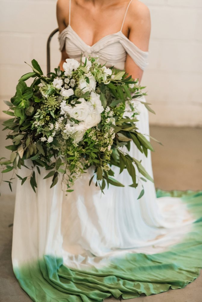 Green & White Wedding Day Bridal Bouquet: Green & White Spring Inspired Wedding Styled Shoot from Dawn Derbyshire Photography featured on Burgh Brides