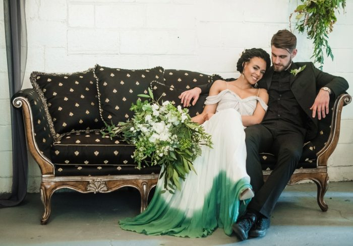 Green Ombre Dip Dye Wedding Dress for an Alternative Bride: Green & White Spring Inspired Wedding Styled Shoot from Dawn Derbyshire Photography featured on Burgh Brides