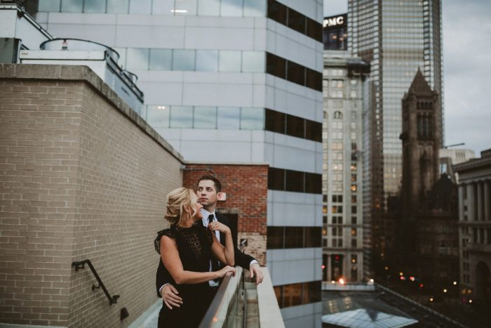 Lawrenceville & Downtown Pittsburgh Engagement Session from Hot Metal Studio featured on Burgh Brides