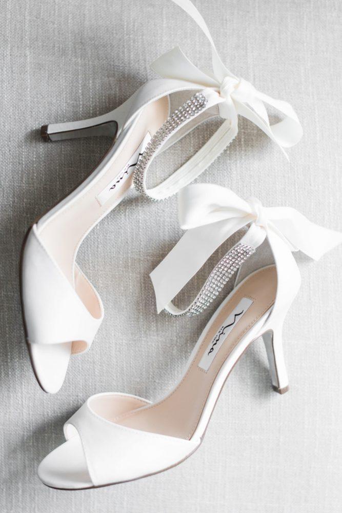 Peep Toe Bow Bridal Wedding Shoes: Navy & Burgundy Wedding from Madeline Jane Photography featured on Burgh Brides