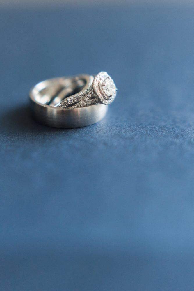 Halo Diamond Engagement Ring: Navy & Burgundy Wedding from Madeline Jane Photography featured on Burgh Brides