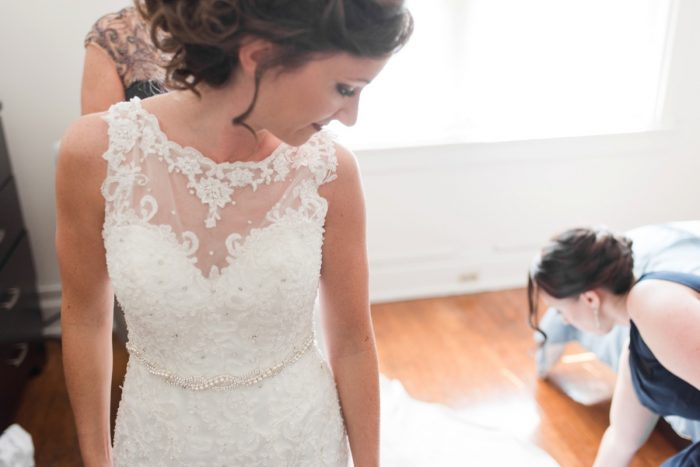 Beaded Lace Wedding Dress: Navy & Burgundy Wedding from Madeline Jane Photography featured on Burgh Brides