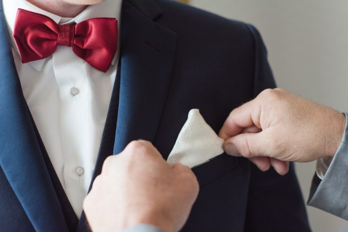 Navy Blue & Burgundy Groom's Wedding Day Tuxedo: Navy & Burgundy Wedding from Madeline Jane Photography featured on Burgh Brides