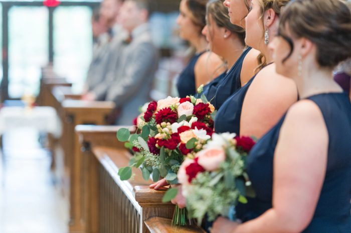 Burgundy and Peach Bridesmaids Bouquet: Navy & Burgundy Wedding from Madeline Jane Photography featured on Burgh Brides