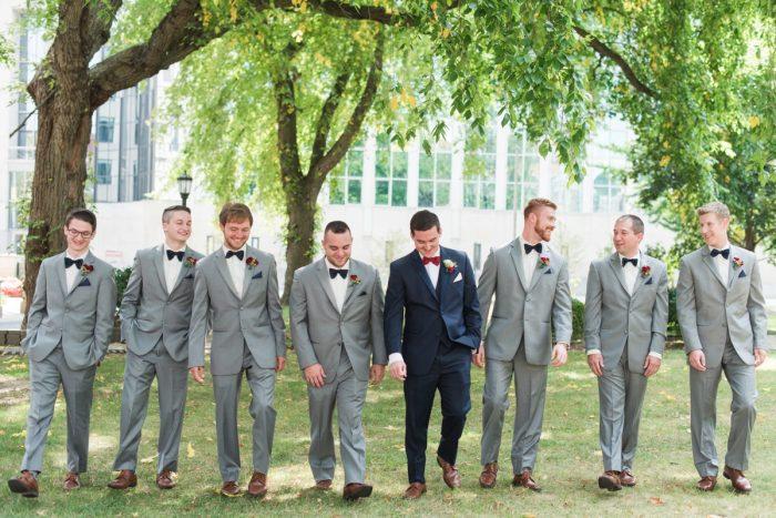 Gray Tuxedos Groomsmen Wedding Day Menswear: Navy & Burgundy Wedding from Madeline Jane Photography featured on Burgh Brides