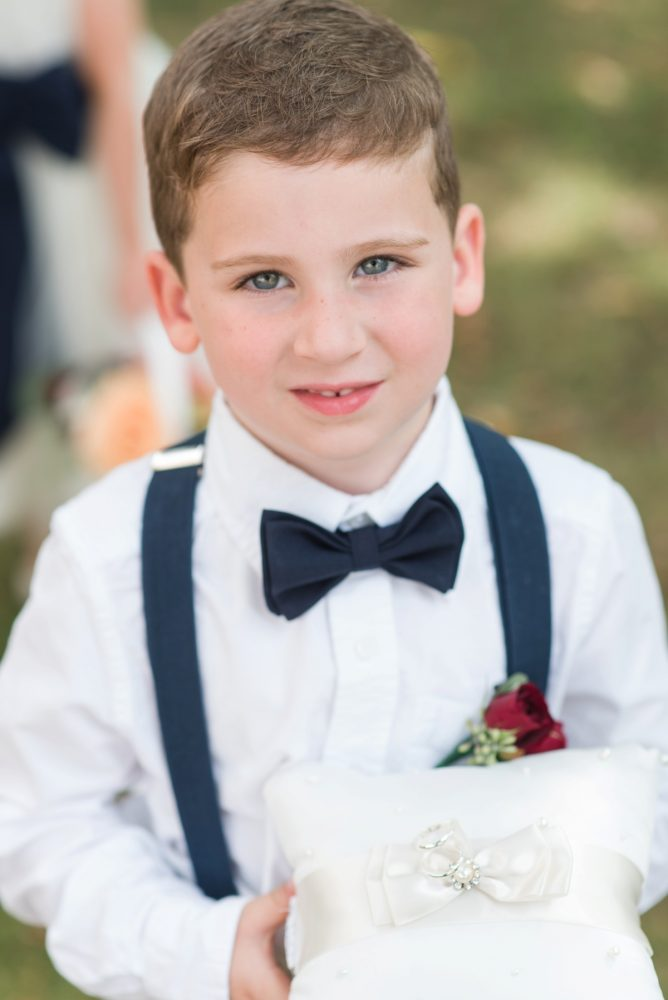 Ring Bearer Bow Tie Suspenders: Navy & Burgundy Wedding from Madeline Jane Photography featured on Burgh Brides