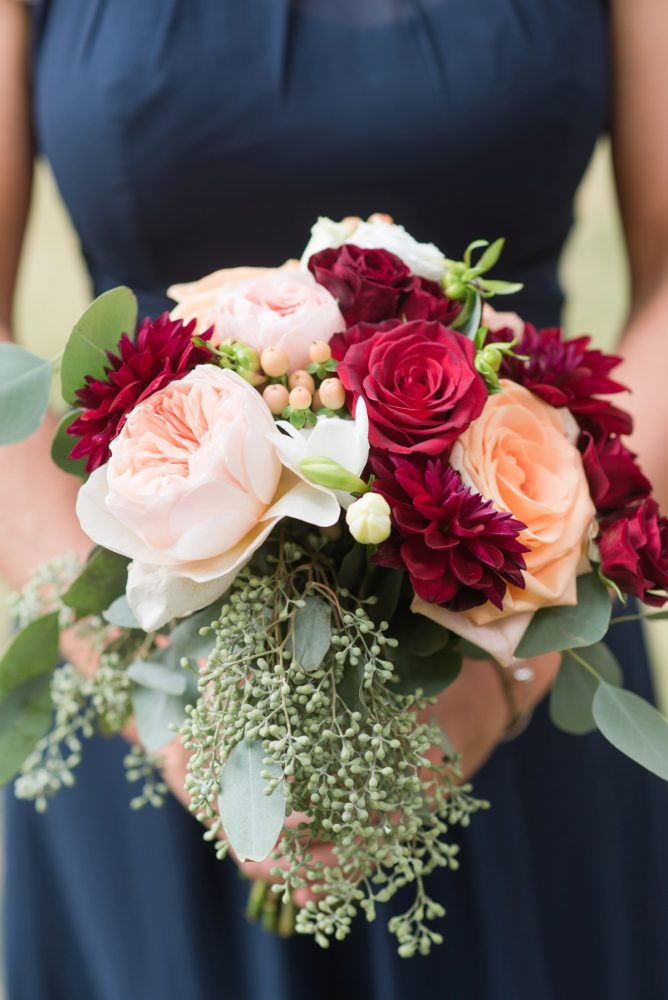 Burgundy & Peach Bridesmaids Wedding Day Bouquet: Navy & Burgundy Wedding from Madeline Jane Photography featured on Burgh Brides