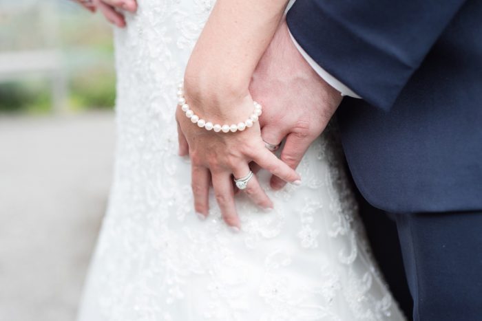 Bride's Wedding Day Pearl Bracelet: Navy & Burgundy Wedding from Madeline Jane Photography featured on Burgh Brides