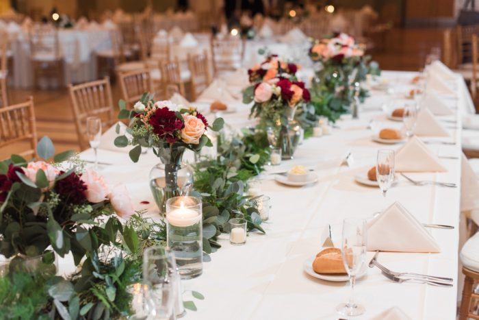 Greenery Runners Wedding Centerpiece: Navy & Burgundy Wedding from Madeline Jane Photography featured on Burgh Brides