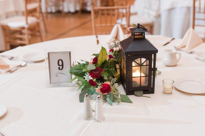Lantern Wedding Centerpiece: Navy & Burgundy Wedding from Madeline Jane Photography featured on Burgh Brides