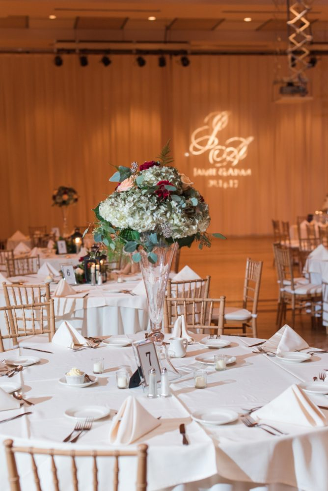 Elevated Wedding Centerpiece: Navy & Burgundy Wedding from Madeline Jane Photography featured on Burgh Brides