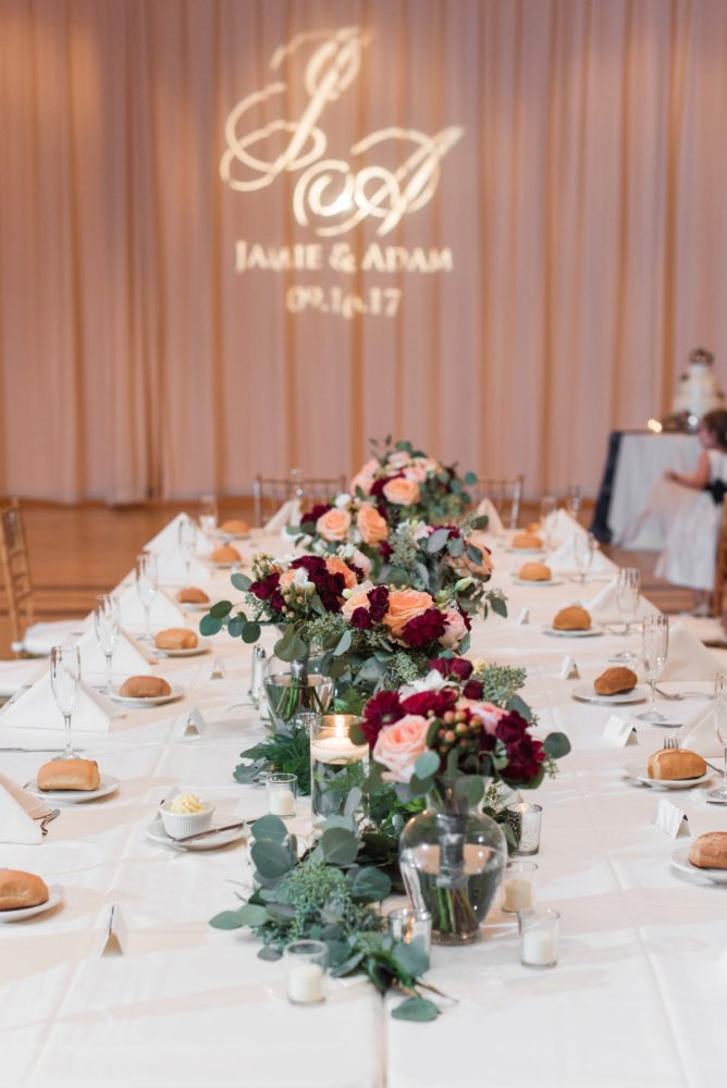 Greenery Table Runner Wedding Centerpiece: Navy & Burgundy Wedding from Madeline Jane Photography featured on Burgh Brides