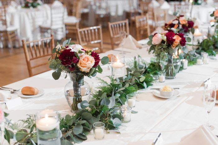 Greenery Runner Wedding Centerpiece: Navy & Burgundy Wedding from Madeline Jane Photography featured on Burgh Brides