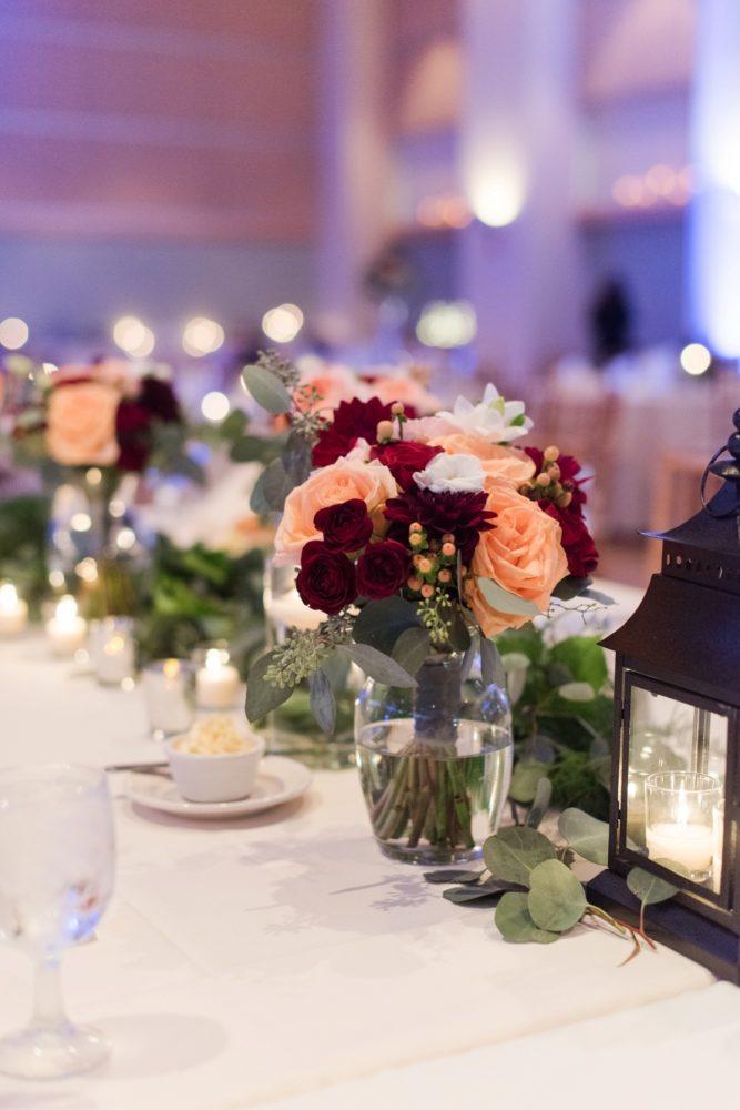 Burgundy & Peach Bridesmaids Wedding Bouquet: Navy & Burgundy Wedding from Madeline Jane Photography featured on Burgh Brides