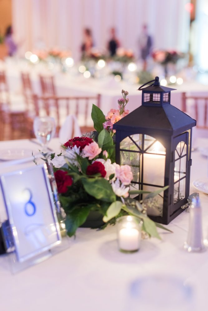 Lantern Wedding Centerpieces: Navy & Burgundy Wedding from Madeline Jane Photography featured on Burgh Brides