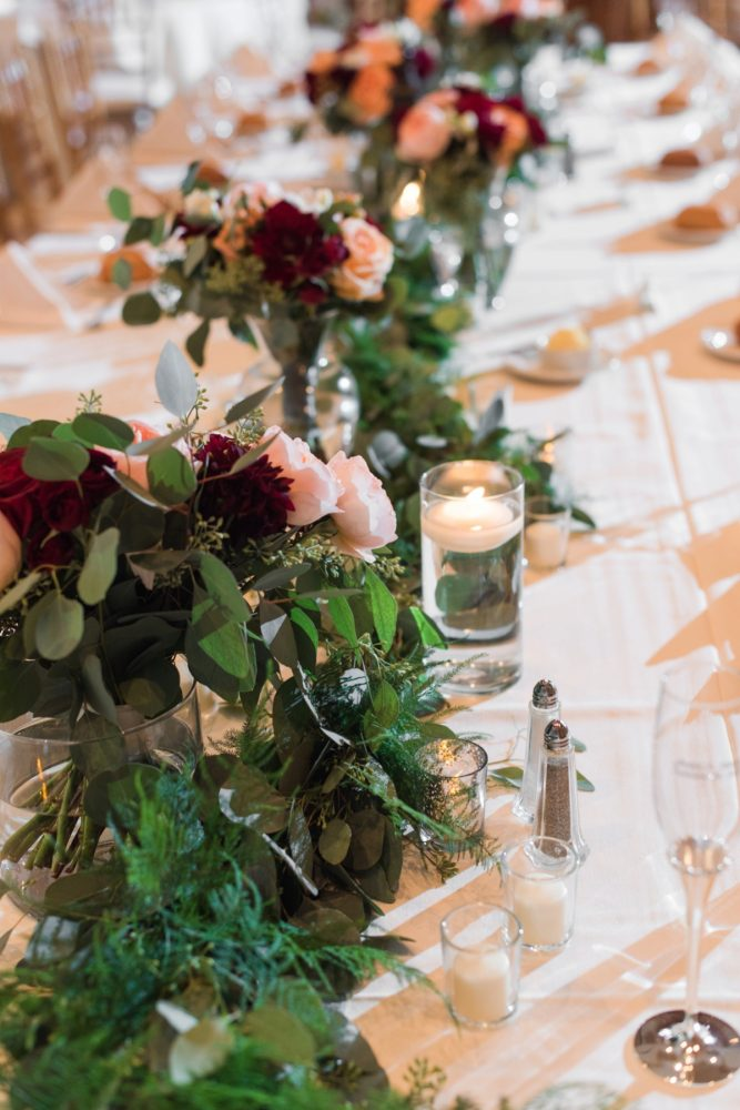 Burgundy & Peach Wedding Flowers: Navy & Burgundy Wedding from Madeline Jane Photography featured on Burgh Brides