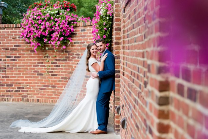 Sheath Wedding Dress with Train and Cathedral Veil: Warm Earthy Wedding from Leeann Marie Wedding Photographers featured on Burgh Brides