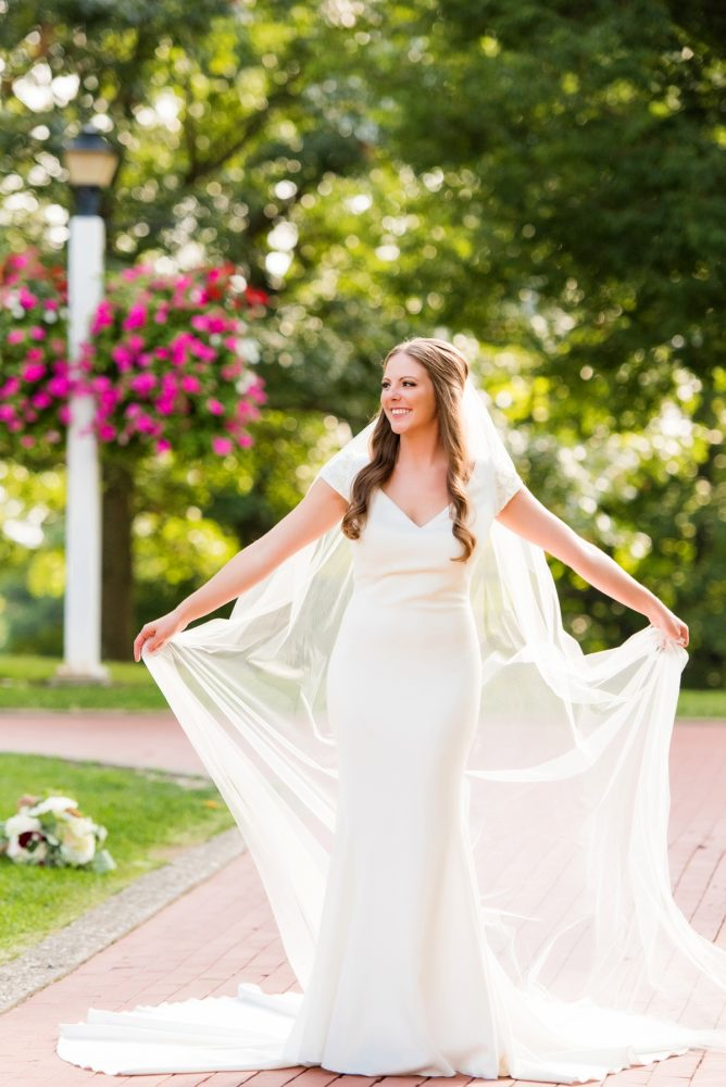 Wedding Dress with Cap Sleeves and Cathedral Veil: Warm Earthy Wedding from Leeann Marie Wedding Photographers featured on Burgh Brides