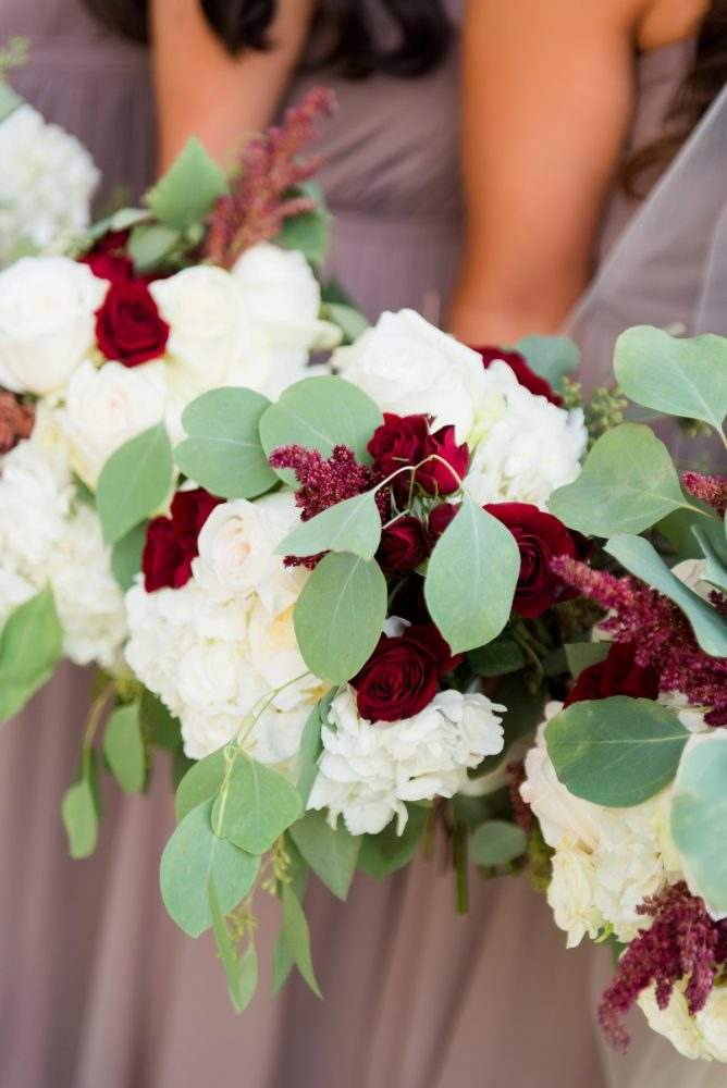 White, Sage, & Marsala Bouquets for Wedding Day Bridesmaids: Warm Earthy Wedding from Leeann Marie Wedding Photographers featured on Burgh Brides