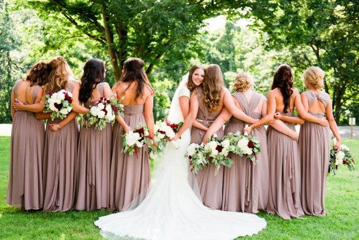 Taupe Lavender Chiffon Bridesmaids Maxi Dresses: Warm Earthy Wedding from Leeann Marie Wedding Photographers featured on Burgh Brides