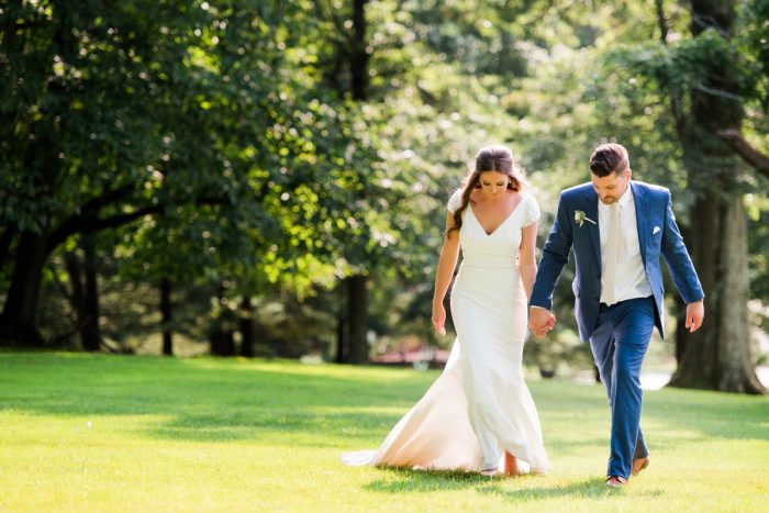 V Neck Wedding Dress with Cap Sleeves: Warm Earthy Wedding from Leeann Marie Wedding Photographers featured on Burgh Brides