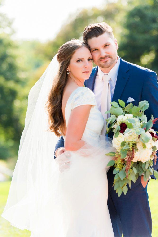 White, Sage, & Marsala Wedding Day Bouquet for Bride: Warm Earthy Wedding from Leeann Marie Wedding Photographers featured on Burgh Brides