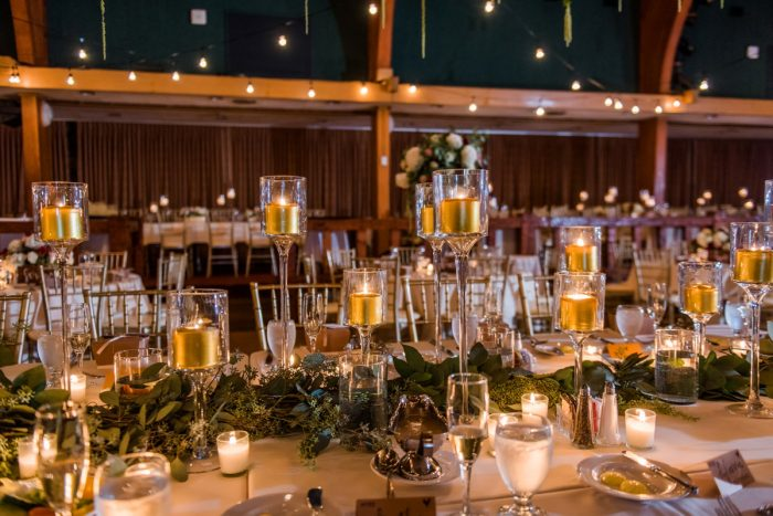 Gold Candle Centerpieces Wedding Reception Decor: Warm Earthy Wedding from Leeann Marie Wedding Photographers featured on Burgh Brides