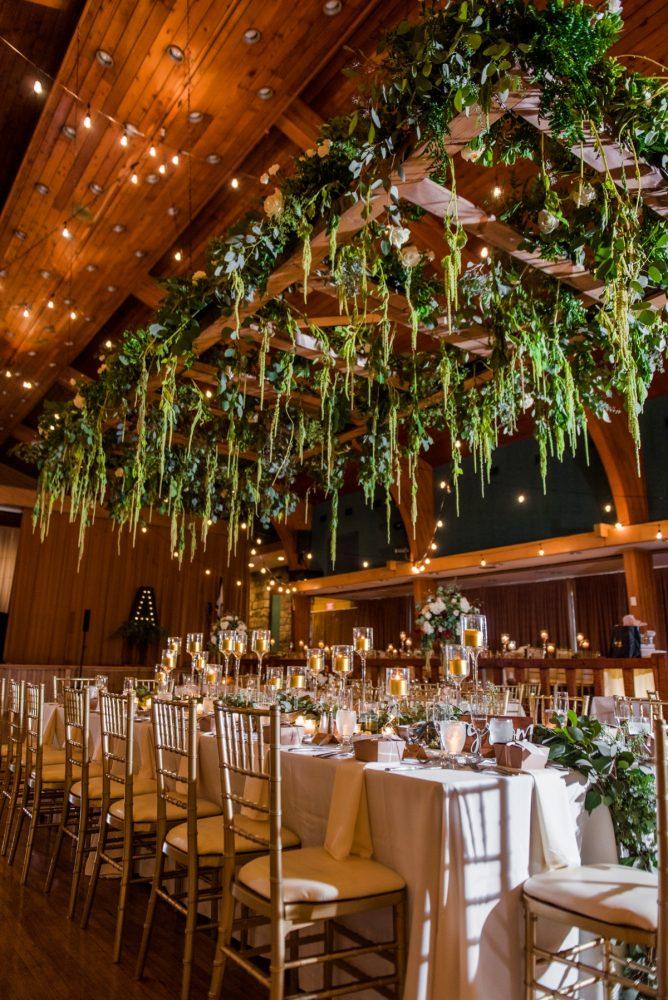 Hanging Floral Chandeliers Wedding Reception Decor: Warm Earthy Wedding from Leeann Marie Wedding Photographers featured on Burgh Brides