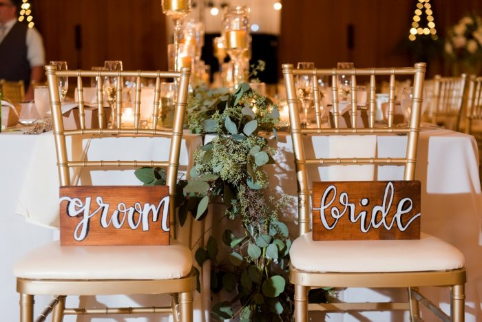 Wooden Hand Lettered Bride and Groom Chair Signs: Warm Earthy Wedding from Leeann Marie Wedding Photographers featured on Burgh Brides