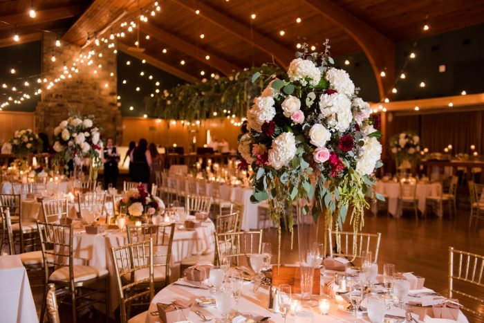 White & Marsala Floral Elevated Centerpieces Wedding Reception Decor: Warm Earthy Wedding from Leeann Marie Wedding Photographers featured on Burgh Brides