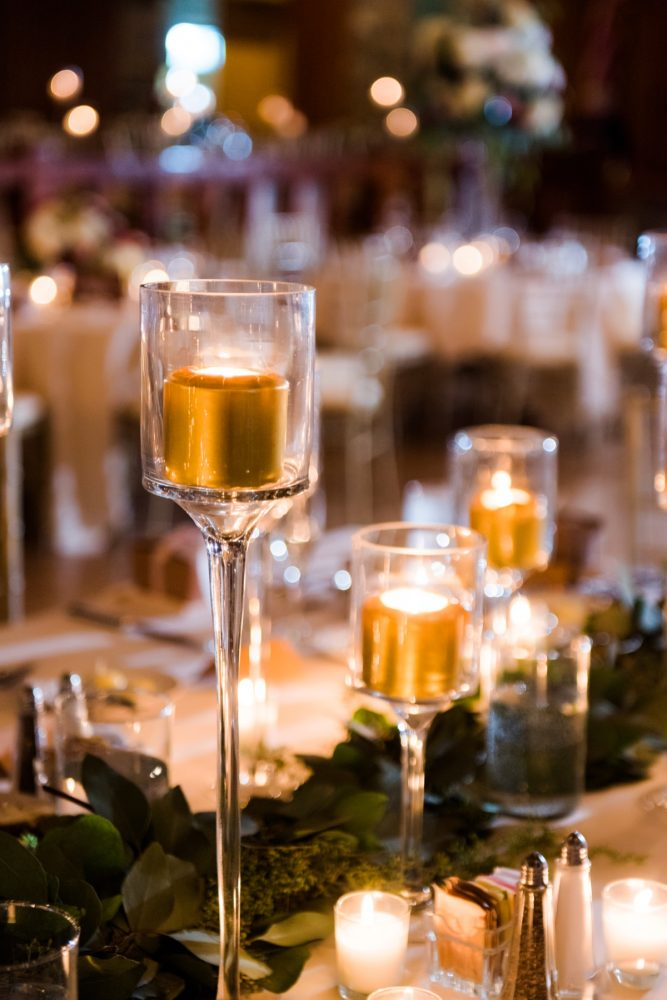 Gold Candle Wedding Centerpieces: Warm Earthy Wedding from Leeann Marie Wedding Photographers featured on Burgh Brides