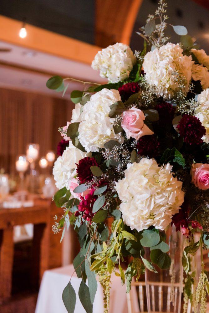 White & Marsala Floral Centerpieces Wedding Reception Decor: Warm Earthy Wedding from Leeann Marie Wedding Photographers featured on Burgh Brides