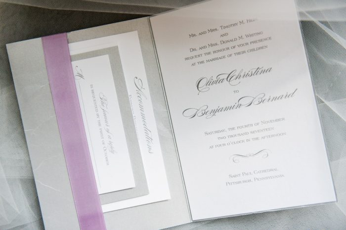 Purple & Silver Wedding Invitations: Contemporary Purple & Silver Wedding at the Fairmont Pittsburgh Hotel from Leeann Marie Wedding Photographers featured on Burgh Brides