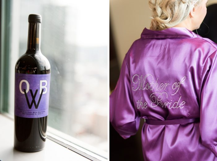 Purple Mother of the Bride Robe: Contemporary Purple & Silver Wedding at the Fairmont Pittsburgh Hotel from Leeann Marie Wedding Photographers featured on Burgh Brides