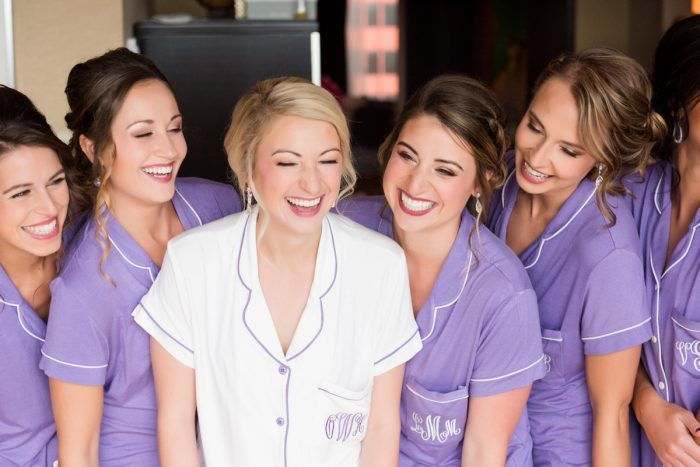 Purple Monogrammed Pajama Sets for Bridesmaids: Contemporary Purple & Silver Wedding at the Fairmont Pittsburgh Hotel from Leeann Marie Wedding Photographers featured on Burgh Brides
