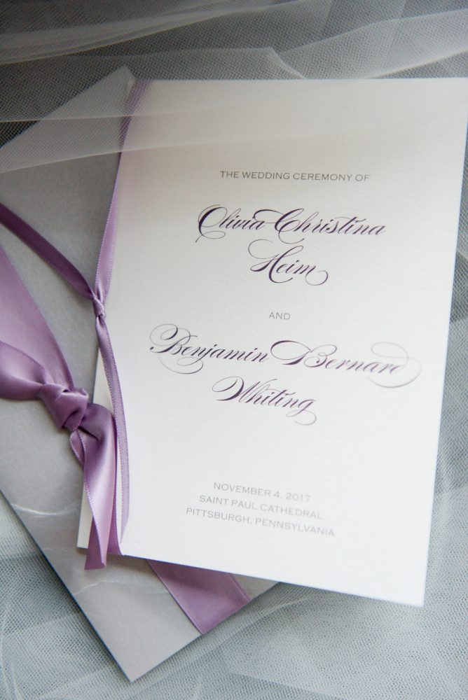 Purple Wedding Ceremony Programs: Contemporary Purple & Silver Wedding at the Fairmont Pittsburgh Hotel from Leeann Marie Wedding Photographers featured on Burgh Brides