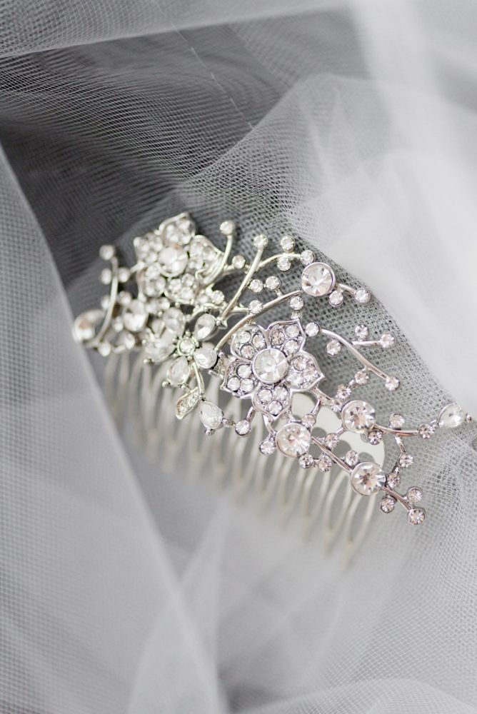 Rhinestone Crystal Hairpiece Comb for Bride: Contemporary Purple & Silver Wedding at the Fairmont Pittsburgh Hotel from Leeann Marie Wedding Photographers featured on Burgh Brides