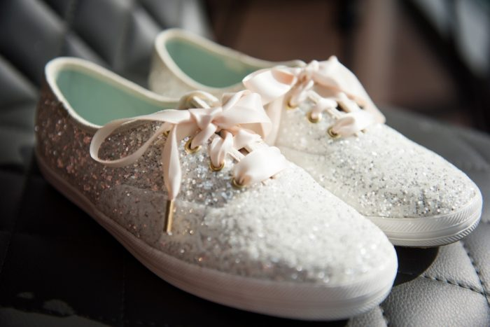 Glitter Sneakers for Bride: Contemporary Purple & Silver Wedding at the Fairmont Pittsburgh Hotel from Leeann Marie Wedding Photographers featured on Burgh Brides