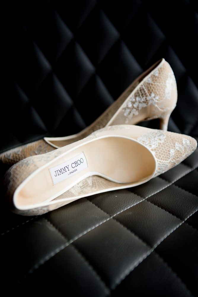 Ivory Lace Jimmy Choo Heels for Bride: Contemporary Purple & Silver Wedding at the Fairmont Pittsburgh Hotel from Leeann Marie Wedding Photographers featured on Burgh Brides