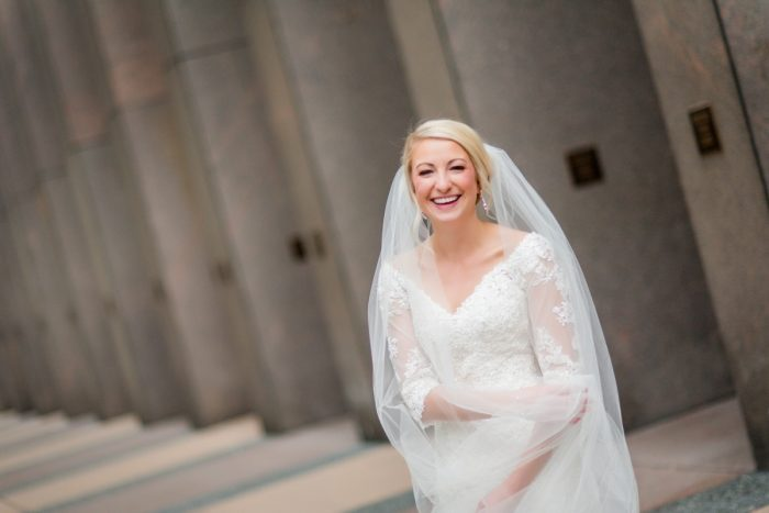 Off the Should V Neck Lace Wedding Dress: Contemporary Purple & Silver Wedding at the Fairmont Pittsburgh Hotel from Leeann Marie Wedding Photographers featured on Burgh Brides