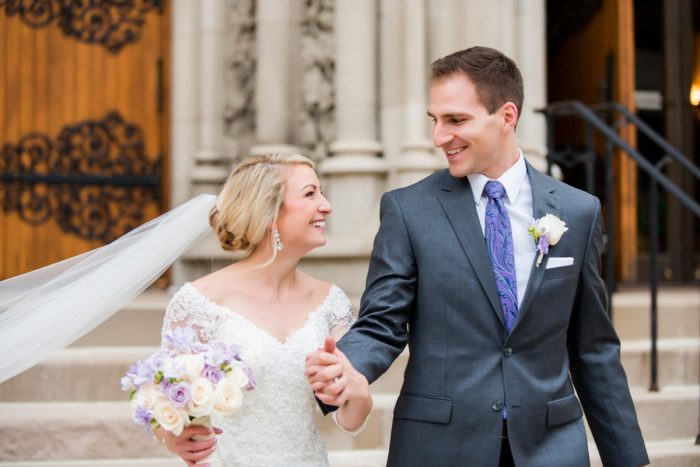 Purple Groom Attire: Contemporary Purple & Silver Wedding at the Fairmont Pittsburgh Hotel from Leeann Marie Wedding Photographers featured on Burgh Brides