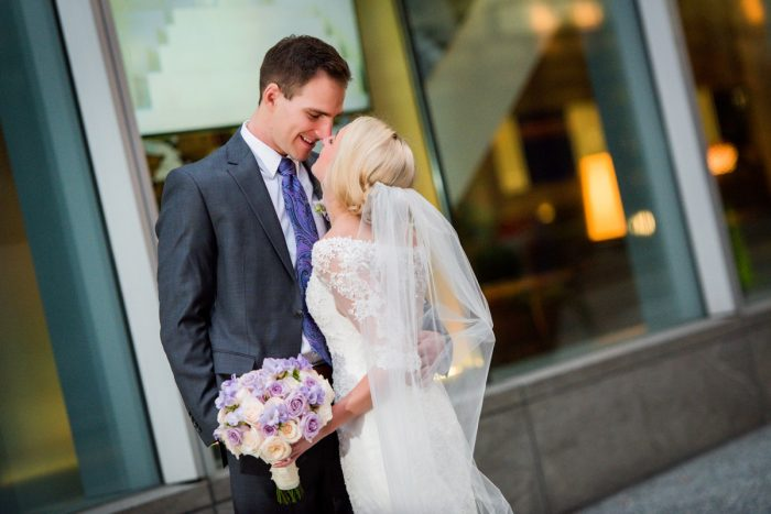Purple and Blush Wedding Bouquet for Bride: Contemporary Purple & Silver Wedding at the Fairmont Pittsburgh Hotel from Leeann Marie Wedding Photographers featured on Burgh Brides