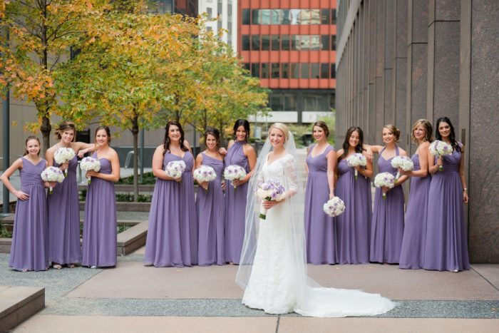 Purple Bridesmaids Dresses: Contemporary Purple & Silver Wedding at the Fairmont Pittsburgh Hotel from Leeann Marie Wedding Photographers featured on Burgh Brides