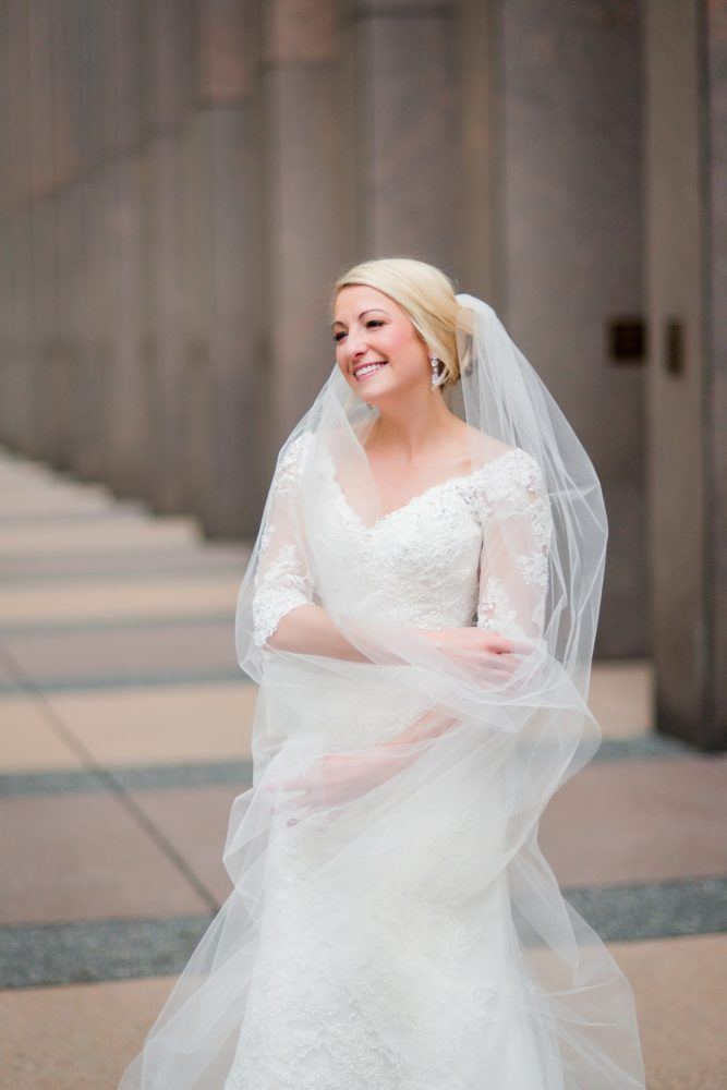 V Neck Lace Wedding Dress: Contemporary Purple & Silver Wedding at the Fairmont Pittsburgh Hotel from Leeann Marie Wedding Photographers featured on Burgh Brides