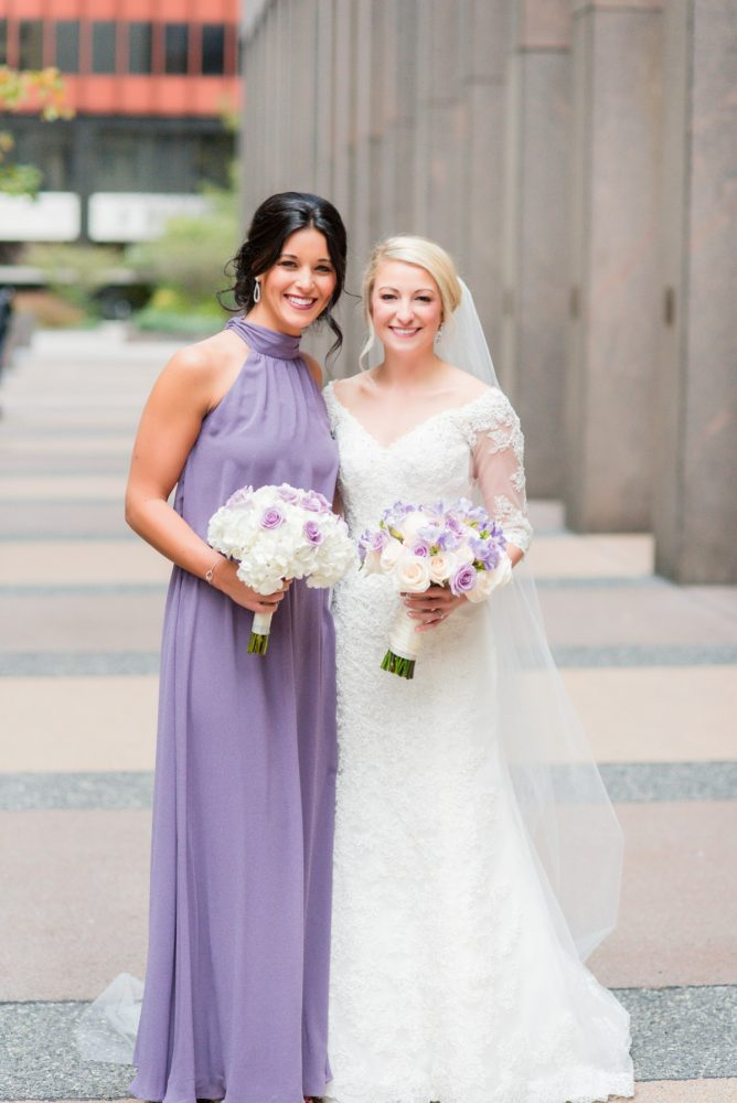 Purple Lavender Bridesmaids Dresses: Contemporary Purple & Silver Wedding at the Fairmont Pittsburgh Hotel from Leeann Marie Wedding Photographers featured on Burgh Brides