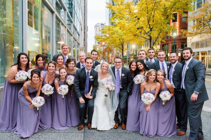 Purple Wedding Fashion: Contemporary Purple & Silver Wedding at the Fairmont Pittsburgh Hotel from Leeann Marie Wedding Photographers featured on Burgh Brides