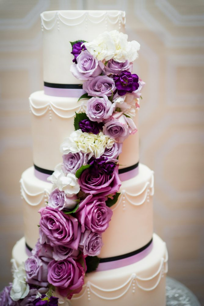 Purple Wedding Cake: Contemporary Purple & Silver Wedding at the Fairmont Pittsburgh Hotel from Leeann Marie Wedding Photographers featured on Burgh Brides