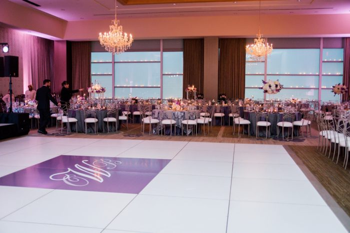 Customized Wedding Dance Floor: Contemporary Purple & Silver Wedding at the Fairmont Pittsburgh Hotel from Leeann Marie Wedding Photographers featured on Burgh Brides